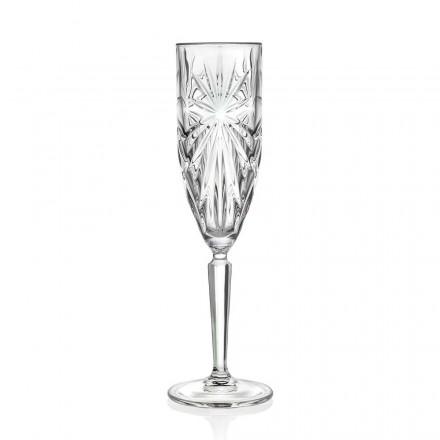 12 gota flaute gotë për shampanjë ose Prosecco në Eco Crystal - Daniele