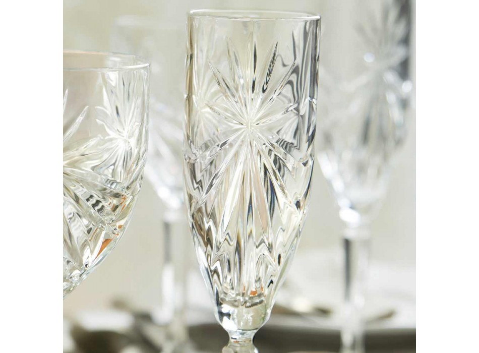 12 gota flaute gotë për shampanjë ose Prosecco në Eco - Daniele Crystal