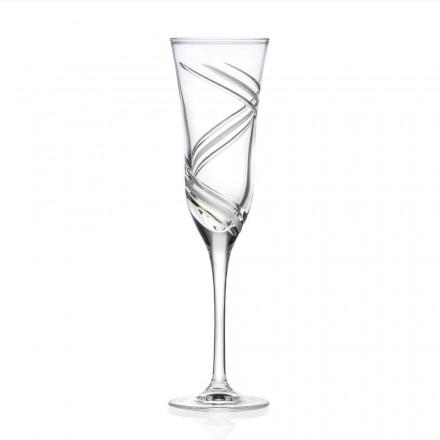 12 gota flaute shampanje në kristal ekologjik të dekoruar prodhuar në Itali - ciklon