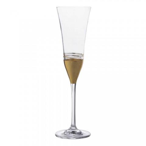 12 Kupa të flautit kristal me fletë bronzi ari luksoze ose platin - Soffio