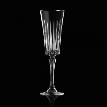 12 gota flaute për verë të gazuar me dekor të prerjeve lineare në Eco Crystal - Senzatempo
