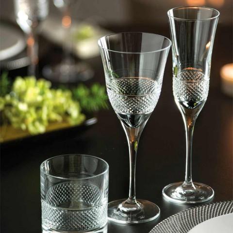 12 gota flaute për shampanjë në kristal ekologjik me dekor manual - Milito