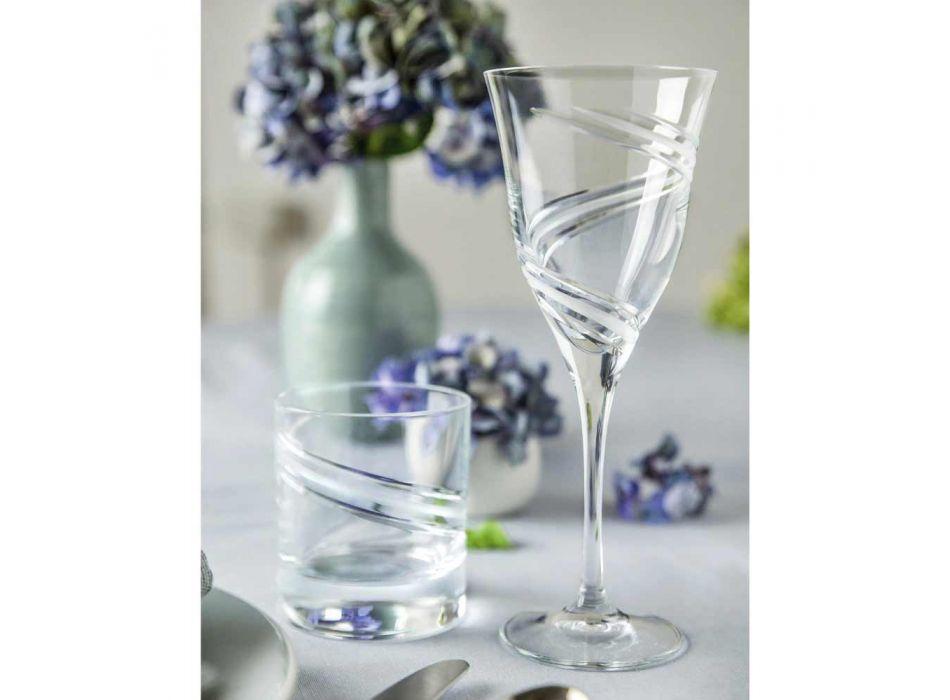 12 gota për verë të bardhë në kristal ekologjik të zbukuruar dhe saten - ciklon