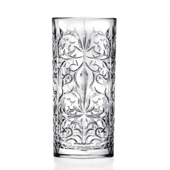 12 Tumbler Tall Highball High Cocktail Glass or Water Luxury Decorated - Fati