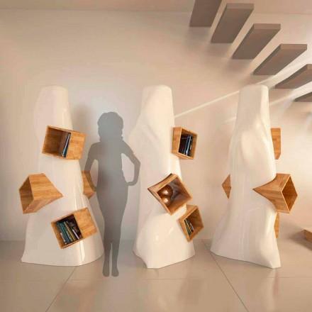 Raft librash me dizajn modern K2, sipërfaqe e ngurtë dhe dru, i punuar me dorë në Itali