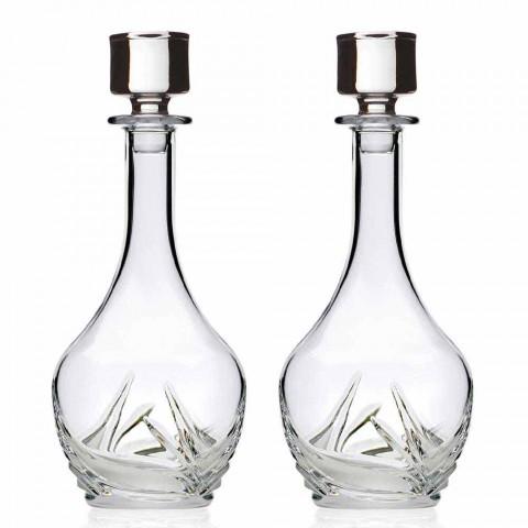 2 shishe vere kristali Eco me kapak të dizajnit të rrumbullakët dhe dekorime - Advent