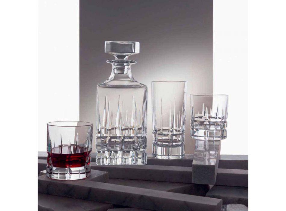 2 shishe uiski me dizajn katror kapak kristali me kapak - Fiucco