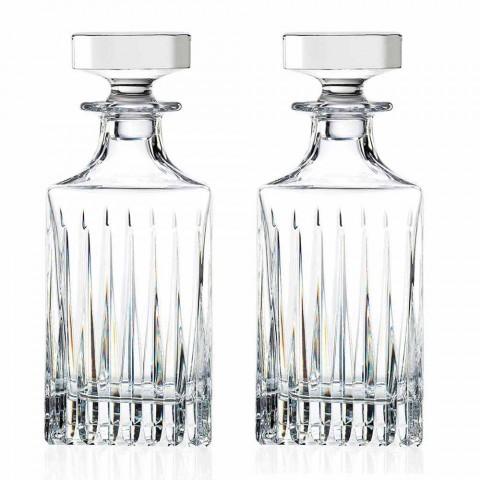 2 shishe uiski kristali me bluarje manuale prodhuar në Itali - Voglia
