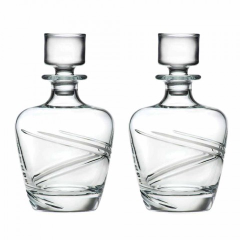 2 shishe uiski në kristal ekologjik artizanal italian - ciklon
