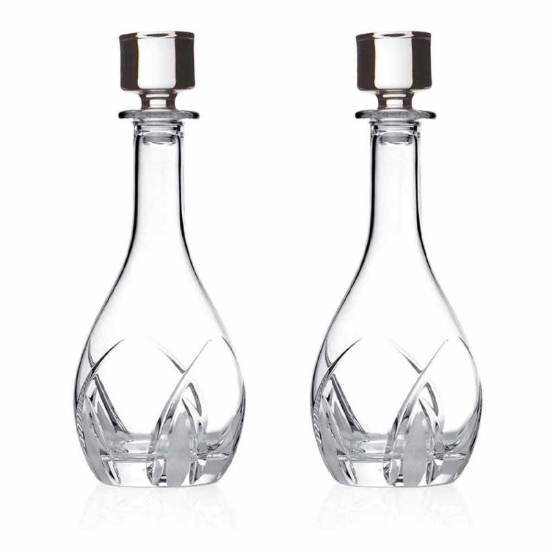 2 shishe vere me kapakë të rrumbullakët të dizajnit në Eco Crystal - Montecristo