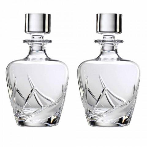 2 shishe uiski kristali me tapë luksoze të zbukuruar me dizajn - Advent