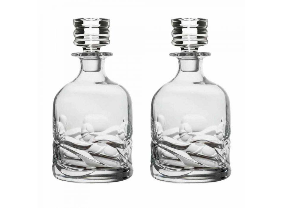 2 shishe uiski kristali të dekoruara Eco dhe kapak luksoz për dizajn - Titanium
