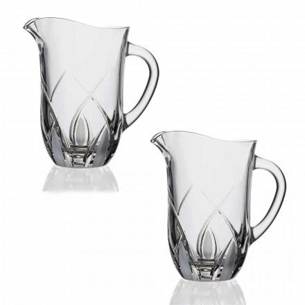 2 Enë kristale kristale uji Dizajn luksoz të zbukuruar me dorë - Montecristo