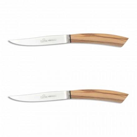 2 thika bifteku me dorezë në brirë kau ose dru të prodhuar në Itali - Marino