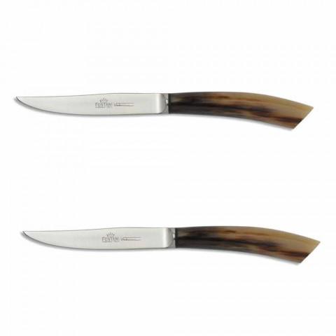 2 Thika bifteku me brirë ose dorezë druri Prodhuar në Itali - Marino