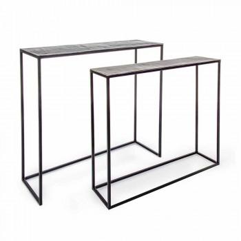 2 Consolle në Çelik Stili Industrial Design Homemotion Modern - susam