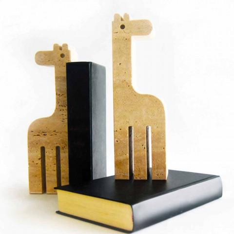 2 libra librash në mermer travertin në formën e një gjirafë të prodhuar në Itali - Morra
