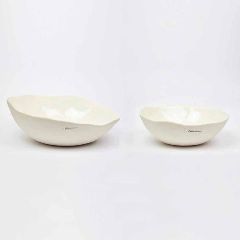 2 tasa sallate me porcelan të bardhë Pjesë unike të dizajnit italian - Arciconcreto