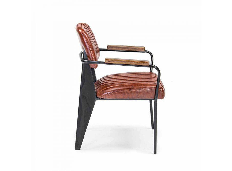 2 Karrige me Armrests në Leatherette Vintage Effect Homemotion - Clare