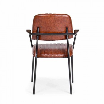 2 Karrige me Armrests në Leatherette Vintage Effect Homemotion - Clare