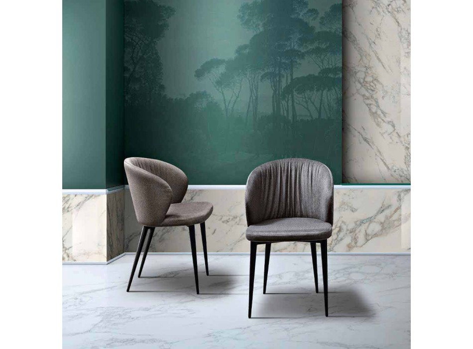 2 Karriget e dhomave të ndenjes në pëlhurë dhe hiri i dizajnit elegant - Reginaldo