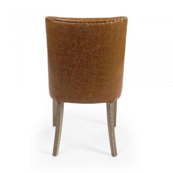 2 Karrige Dizajni në Lëkurë Brown dhe Homemotion Wood Oak - Gallia