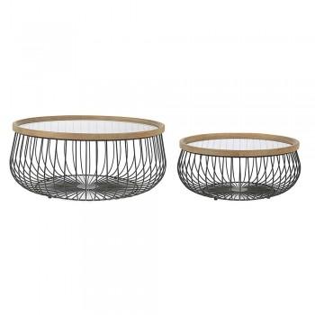 2 tavolina kafeje Homemotion me xham të rrumbullakët dhe majë druri - Randolo