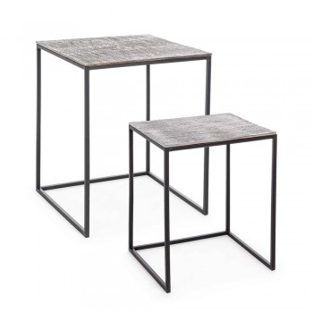 2 Tavolina kafeje prej alumini dhe çeliku të pikturuar Homemotion - Sereno