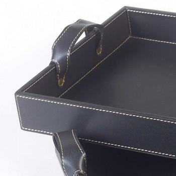 2 tabaka projektimi në lëkurë të zezë 41x28x5cm dhe 45x32x6cm Anastasia