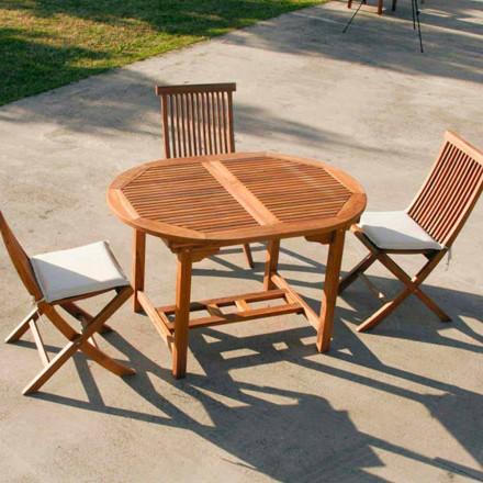 Tavolinë e shtrirë në natyrë e bërë me dru tik Lipari