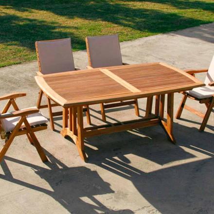 Tavolinë e shtrirë në natyrë e bërë nga dru tik Amalfi