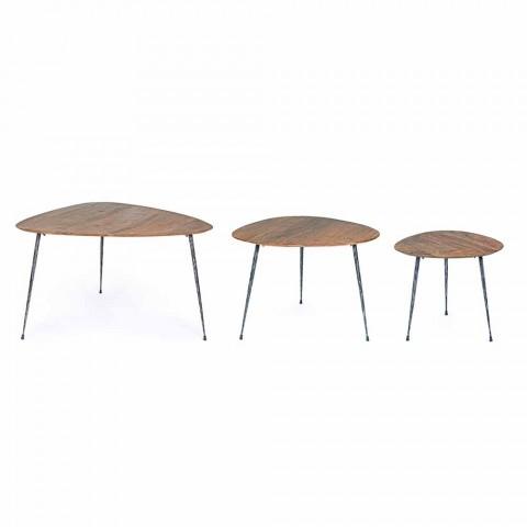 3 tavolina moderne kafeje me majë druri Mango Homemotion - Kalidi