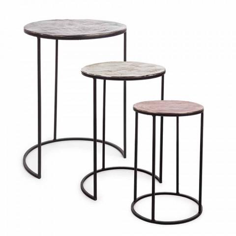 3 tryeza të rrumbullakëta kafeje në lëvizje alumini dhe çeliku - Sempronio