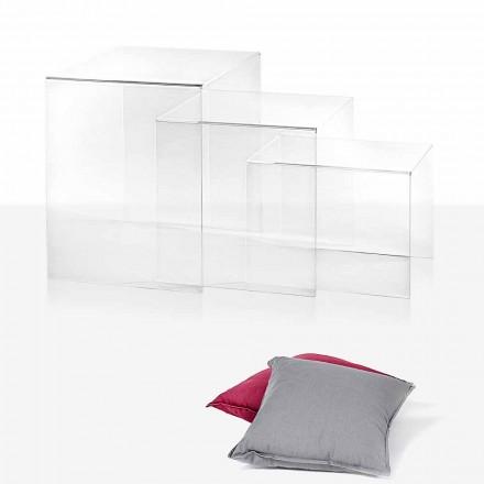 3 tavolinë kafeje stabile e bërë nga plexiglasi transparent Amalia