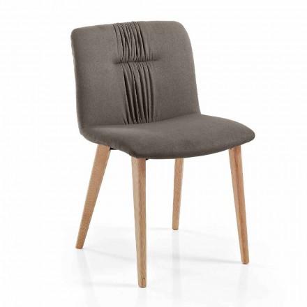 4 karrige të dhomës së ndenjes të veshur me tapiceri në modelin e pëlhurave dhe këmbëve të hirit - Florinda