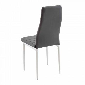 4 Karrige Moderne të Dhomës së Darkës në Lëkurë dhe Këmbë Imituese - Spiga