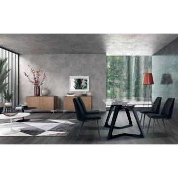 4 karrige të sallës së ngrënies të veshur me tapiceri të veshur me kadife të prodhuara në Itali - kokërr