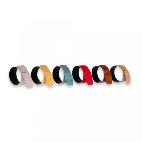 6 unaza pecete në dru dhe pëlhurë moderne prodhuar në Itali - i vockël
