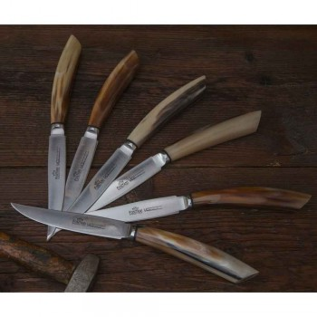 6 thika kuzhine artizanale me dorezë briri kau prodhuar në Itali - Detare