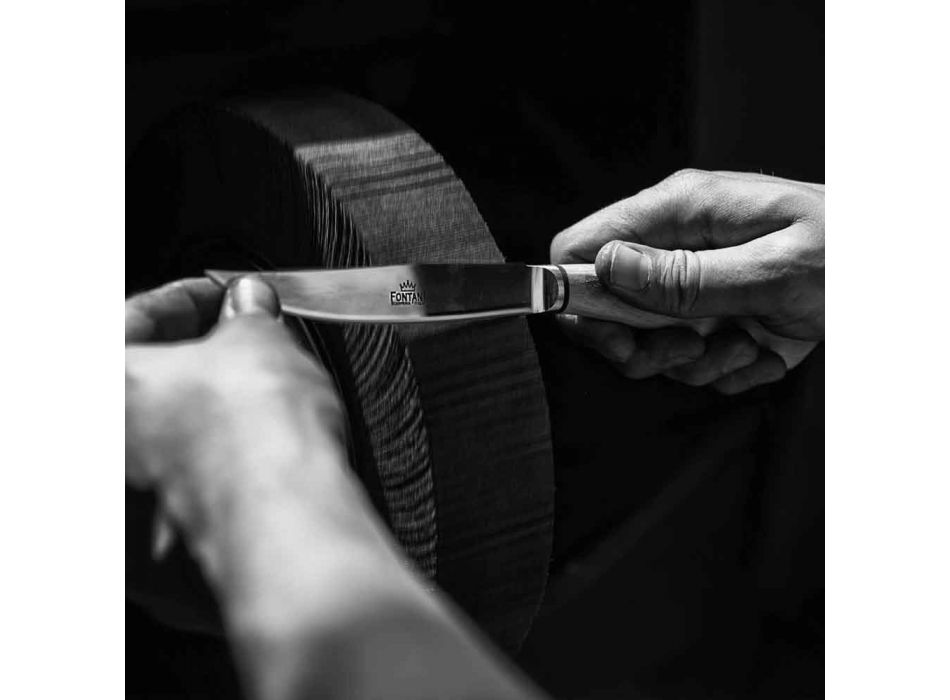 6 thika kuzhine artizanale me dorezë briri kau prodhuar në Itali - Marino