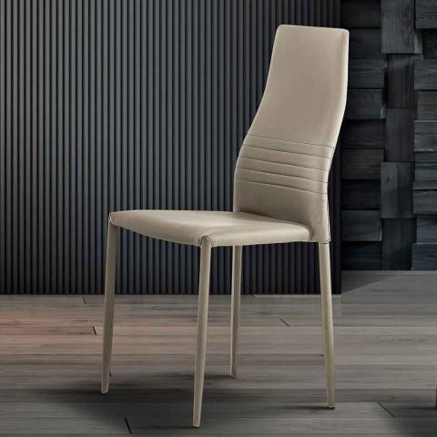 6 Karrige të pirgura në Eko-lëkurë me ngjyra Dizajn Modern për Sallonin - Merida