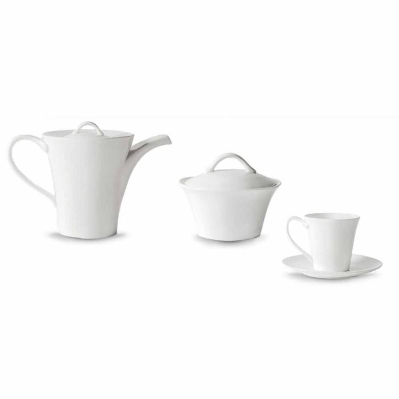 6 gota kafeje prej porcelani me pjata, enë kafeje dhe tas me sheqer - Romilda