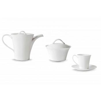 6 filxhanë kafeje porcelani me pjatë, tenxhere kafeje dhe tas sheqeri - Romilda