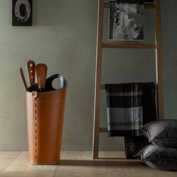 Aksesorë për fireplace me mbajtëse lëkure Nilar, dizajn modern