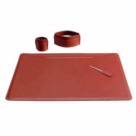 Aksesorë për tavolinën e zyrave në lëkurë, 4 copë, të prodhuara në Itali - Ebe