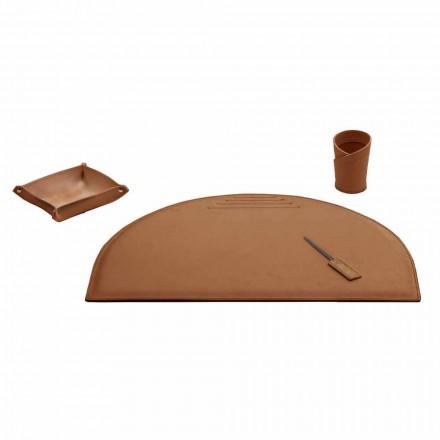 Aksesorë zyre për tavolinë në lëkurën e rigjeneruar, të prodhuar në Itali - Medea