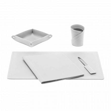 Tavolinë zyre për pajisje në lëkure të lidhur, 5 copë, E prodhuar në Itali - Ascanio