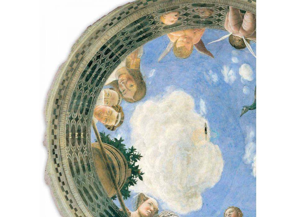 """afresk i madh Mantegna """"Oculus me kerubinët dhe Dame me pamje"""""""