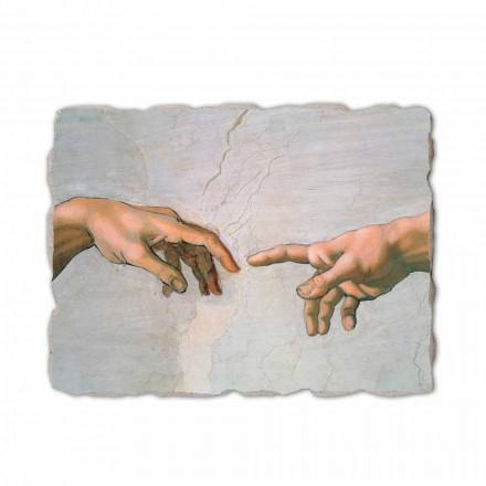 Krijimi i Adamit nga Michelangelo, pikturuar me dorë (detaje)