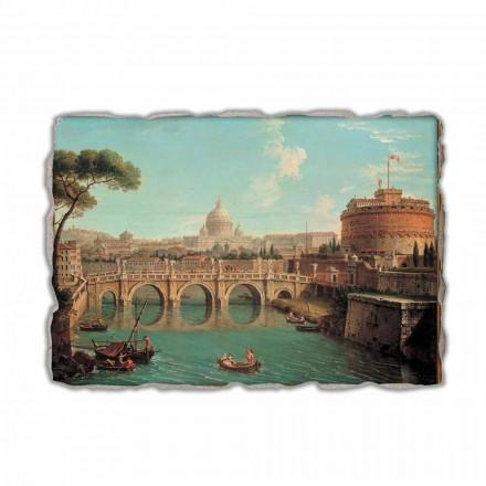 Romë, një pamje e Tiber me Castel Sant'Angelo dhe Bazilikën e Shën Pjetrit dhe Vatikanin Përtej